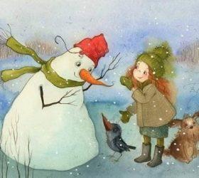 Скрип шагов вдоль улиц белых — зимние стихи для детей